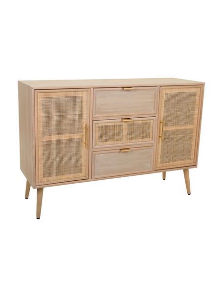 Credenza in legno Cayetana, Piedini: legno di bambù verniciato, Marrone, Larg. 120 x Alt. 81 cm