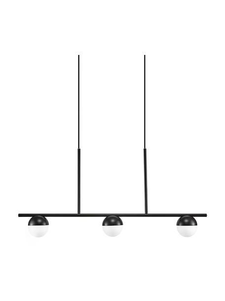 Grote hanglamp Contina met opaalglas, Lampenkap: opaalglas, Baldakijn: gecoat metaal, Wit, zwart, 90 x 42 cm