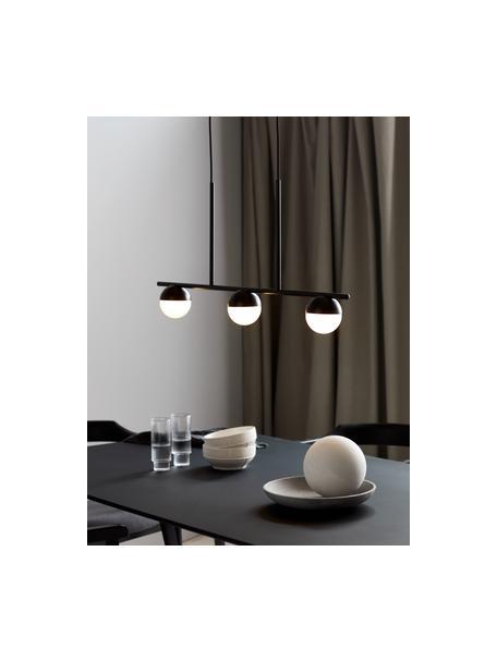 Lámpara de techo grande Contina, Pantalla: vidrio, Estructura: metal recubierto, Anclaje: metal recubierto, Cable: cubierto en tela, Blanco, negro, An 90 x Al 242 cm