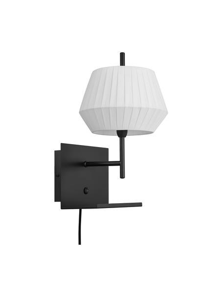 Aplique Dicte, con enchufe, estilo clásico, Pantalla: tela, Cable: plástico, Blanco, negro, An 21 x Al 38 cm