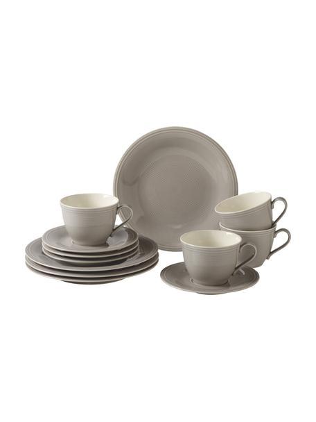 Komplet naczyń z porcelany Loop, dla 4 osób (12 elem.), Porcelana, Szary, biały, Komplet z różnymi rozmiarami