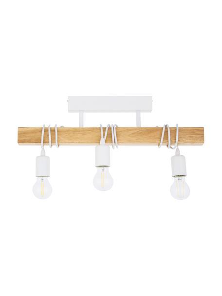 Faretti da soffitto in legno Townshend, Struttura: legno di albero della gom, Bianco, legno, Larg. 55 x Alt. 27 cm