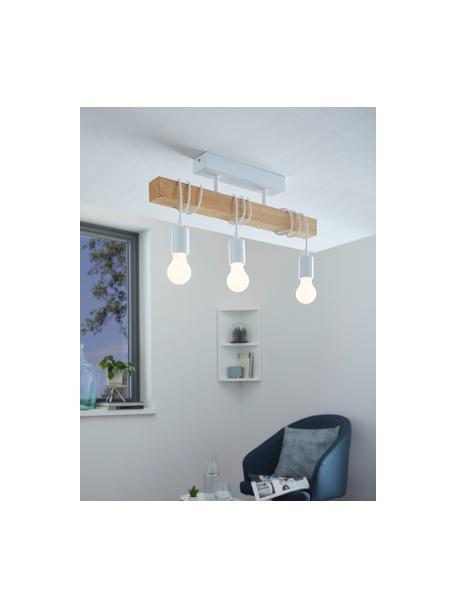 Plafondlamp Townshend van hout, Baldakijn: gelakt staal, Wit, houtkleurig, 55 x 27 cm