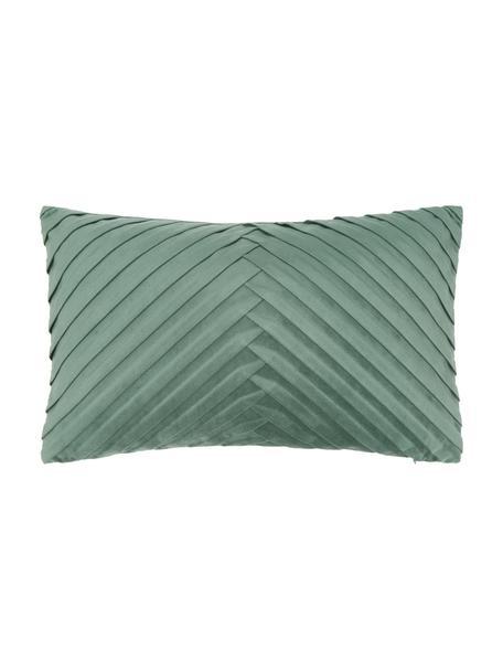 Fluwelen kussenhoes Lucie in donkergroen met structuur-oppervlak, 100% fluweel (polyester), Groen, 30 x 50 cm