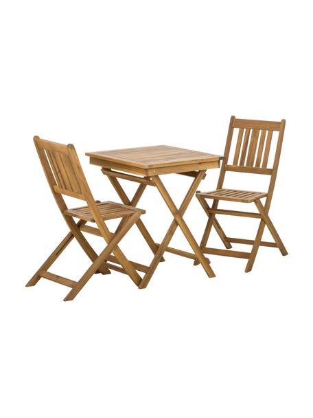 Muebles de madera de acacia para exterior Skyler, 3pzas., Marrón, Set de diferentes tamaños