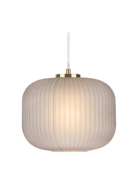Kleine hanglamp Sober met glazen lampenkap, Lampenkap: glas, Baldakijn: geborsteld metaal, Decoratie: geborsteld metaal, Grijs, Ø 25 x H 22 cm