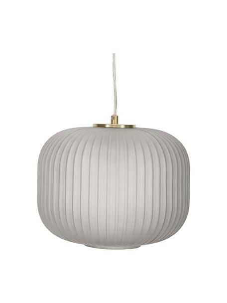 Lámpara de techo pequeña de vidrio Sober, Pantalla: vidrio, Anclaje: metal cepillado, Cable: plástico, Gris, Ø 25 x Al 22 cm