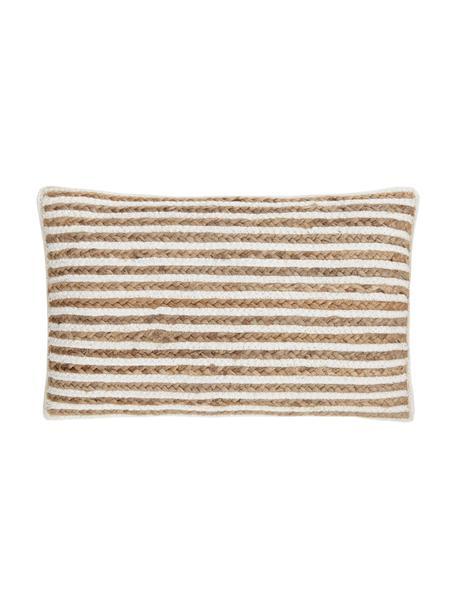 Funda de cojín de yute Faeka, Parte delantera: yute, algodón, Parte trasera: 100%algodón, Beige, blanco, An 30 x L 50 cm