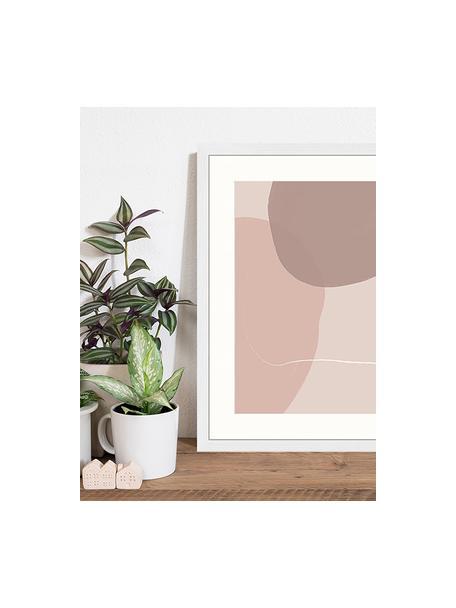 Ingelijste digitale print Abstract Pink, Afbeelding: digitale print op papier,, Lijst: gelakt hout, Multicolour, 43 x 53 cm