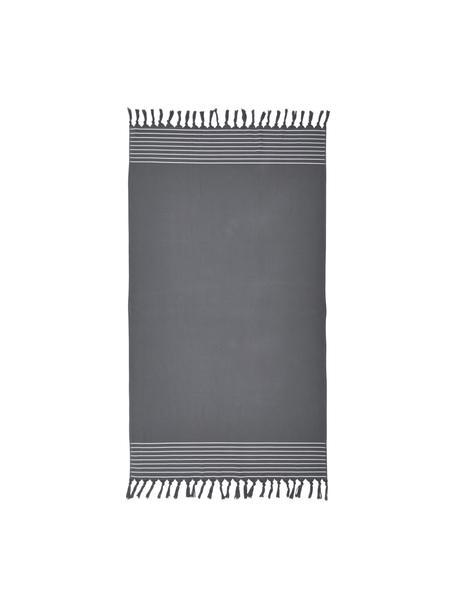 Fouta con flecos Freddy, Reverso: afelpado, Gris oscuro, An 100 x L 180 cm