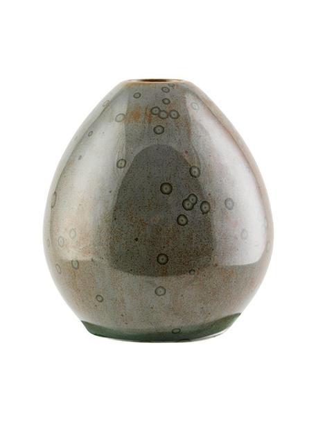 Vaso di design fatto a mano Baby, Gres, Marrone lucido, Ø 9 x Alt. 10 cm