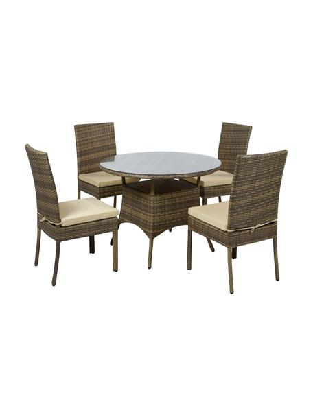 Set tavolo e sedie da giardino Sunny 5 pz, Rivestimento: 100% poliestere, Piano del tavolo: vetro, Marrone, Set in varie misure