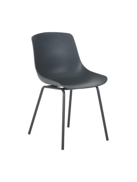 Kunststoffen stoelen Dave met metalen poten, 2 stuks, Zitvlak: kunststof, Poten: gepoedercoat metaal, Donkergrijs, B 46 x D 53 cm