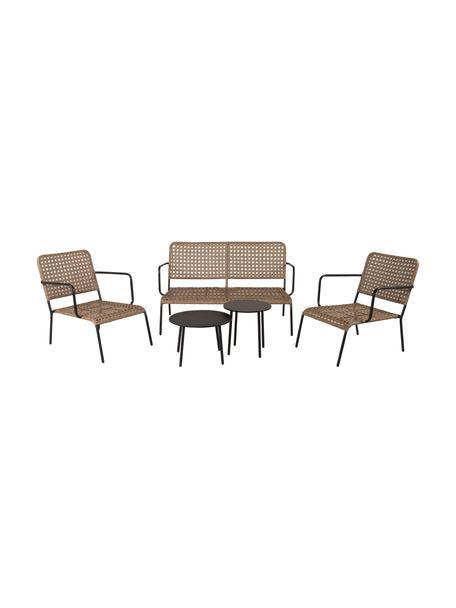 Gartenmöbel-Set Paola, 5-tlg., Schwarz, Beige, Set mit verschiedenen Größen