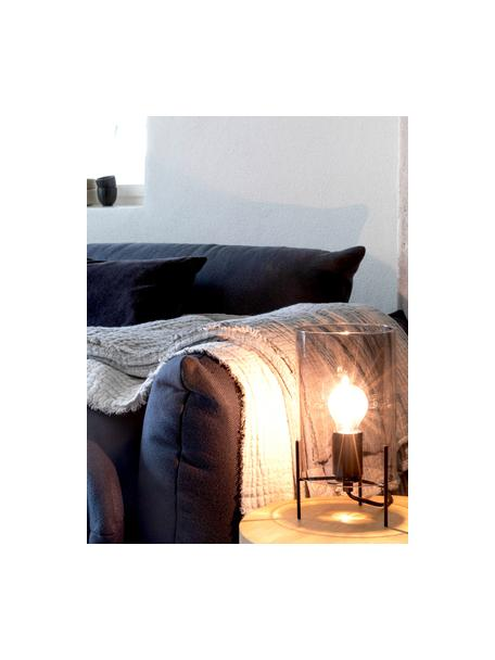 Kleine tafellamp Laurel van gekleurd glas, Lampenkap: glas, Lampvoet: gepoedercoat metaal, Lampenkap: grijs, transparant. Lampvoet: mat zwart. Snoer: transparant, Ø 14 x H 28 cm