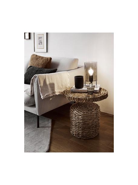 Lámpara de mesa pequeña de vidrio Laurel, Pantalla: vidrio, Cable: cubierto en tela, Gris, negro, Ø 14 x Al 28 cm