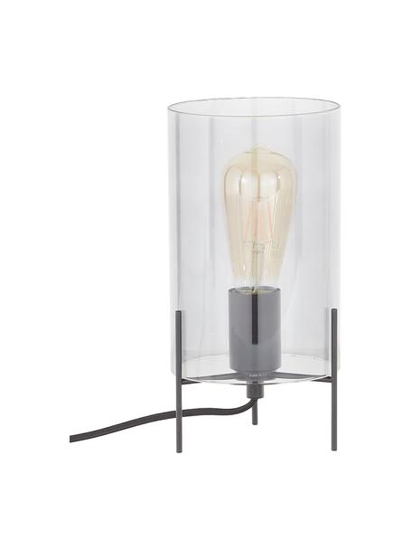 Lampa stołowa ze szkła Laurel, Klosz: szary, transparentny Podstawa lampy: czarny, matowy Kabel: transparentny, Ø 14 x W 28 cm