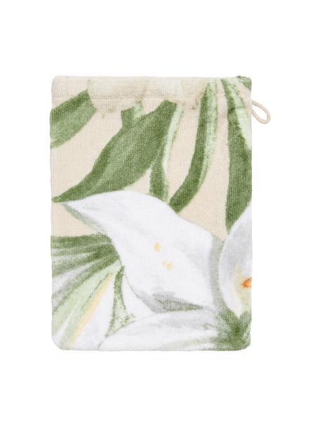 Washandje Rosalee met bloemenpatroon, Katoen, Beige, wit, groen, oranje, 16 x 22 cm