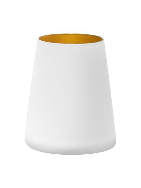 Kegelvormige cocktailglazen Power, 6 stuks, Gecoat kristalglas, Wit, goudkleurig, Ø 9 x H 10 cm