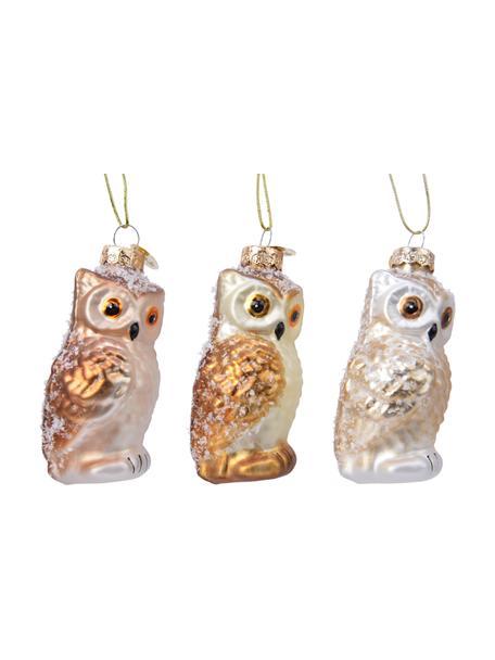Adornos navideños Owls, 3uds., Adornos: vidrio, Beige, dorado, blanco, Ø 4 x Al 9 cm