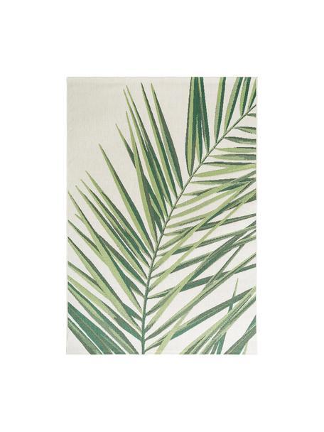 In- & outdoor vloerkleed Capri Palm met palmbladmotief, 100% polypropyleen, Groen, beige, B 80 x L 150 cm (maat XS)