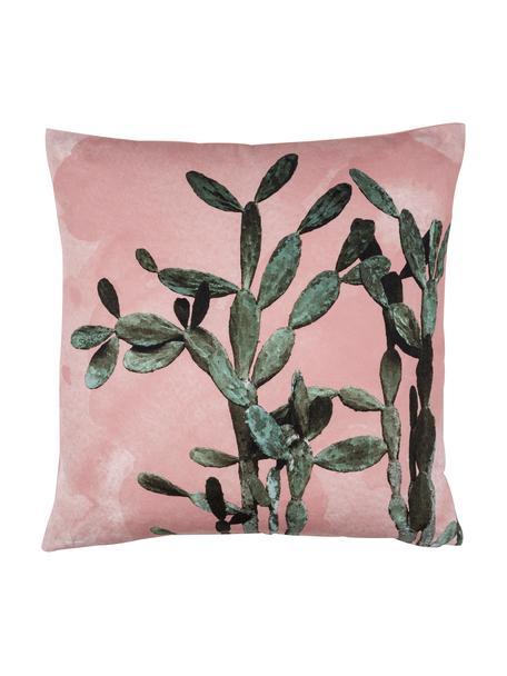 Federa arredo con stampa cactus Montezuma, 100% cotone, Rosa, verde, Larg. 50 x Lung. 50 cm