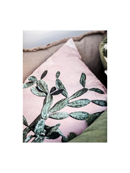 Kissenhülle Montezuma mit Kaktusprint, 100% Baumwolle, Rosa, Grün, 50 x 50 cm