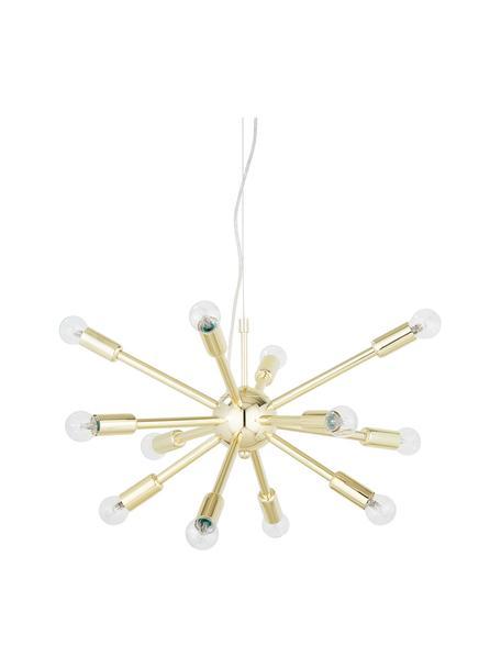 Hanglamp Spike in goudkleur, Baldakijn: vermessingd metaal, Lampenkap: vermessingd metaal, Goudkleurig, Ø 50 cm