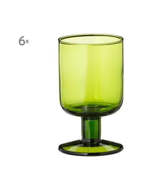 Wijnglazenset Bloom (6-delig), Glas, Groen, Ø 7 x H 12 cm