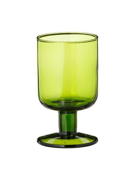 Copas de vino sopladas artesanalmente Bloom, 6uds., Vidrio soplado artesanalmente, Verde, Ø 7 x Al 12 cm
