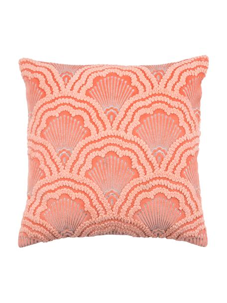 Funda de cojín bordada de terciopelo texturizada Chelsey, 100%terciopelo de algodón, Coral, An 45 x L 45