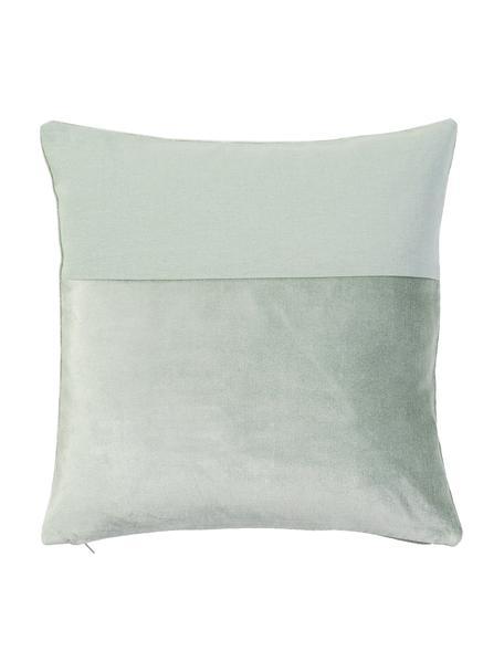 Funda de cojín de terciopelo y lino Adelaide, Parte delantera: 50%algodón, 50%lino, Verde salvia, An 40 x L 40 cm