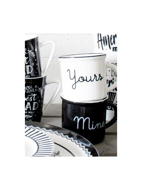 Komplet kubków do herbaty Yours & Mine,2 elem., Porcelana, Biały, czarny, Ø 9 x W 8 cm