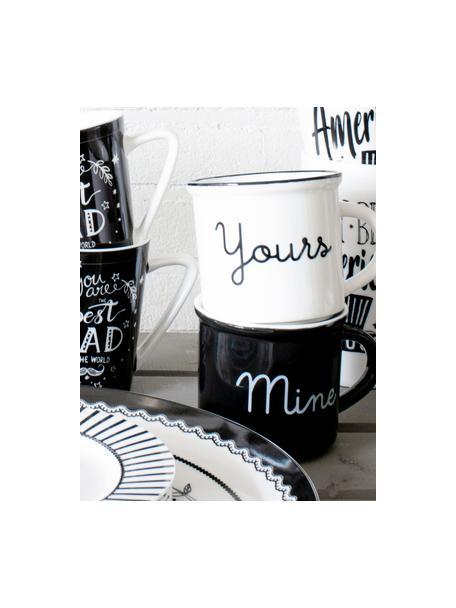 Theemokken Yours & Mine met opschrift, 2-delig, Porselein, Wit, zwart, Ø 9 x H 8 cm