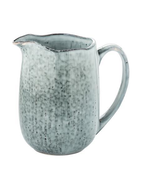 Ręcznie wykonany dzbanek do mleka z kamionki Nordic Sea, 1 l, Kamionka, Odcienie szarego, odcienie niebieskiego, S 17 x W 16 cm