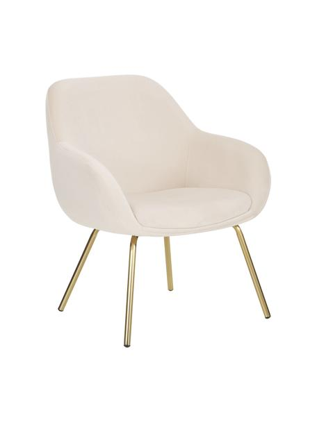 Sedia con braccioli in velluto Kassandra, Rivestimento: velluto (poliestere) 25.0, Gambe: metallo verniciato, Velluto bianco crema, Larg. 72 x Prof. 68 cm