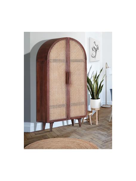 Armario de madera con tejido vienés Felipo, Estructura: madera de mango, Marrón, An 90 x Al 190 cm