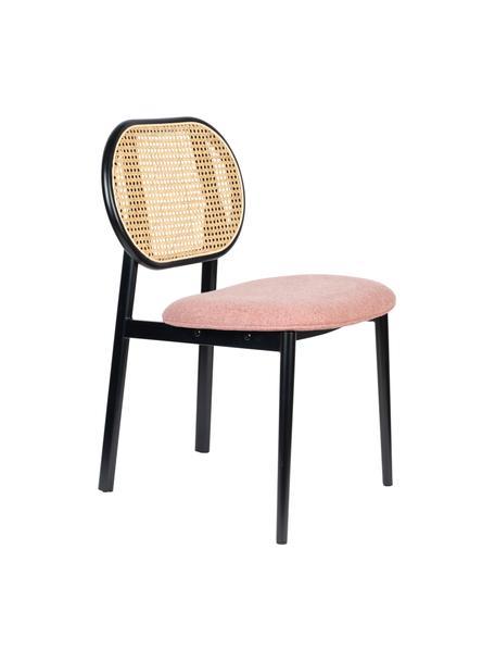 Gestoffeerde stoel Spike met Weens vlechtwerk, Bekleding: 100% polyester, Frame: massief berkenhout, gelak, Poten: gepoedercoat staal, Roze, zwart, beige, 46 x 58 cm
