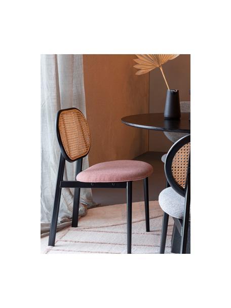 Krzesło tapicerowane z plecionką wiedeńską Spike, Tapicerka: 100% poliester Dzięki tka, Nogi: stal malowana proszkowo Z, Blady różowy, czarny, beżowy, S 46 x G 58 cm