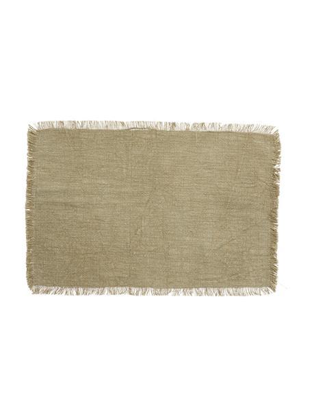 Baumwoll-Tischsets Atria in Beige/meliert mit Fransen, 2 Stück, 100% Baumwolle, Grünbraun, 33 x 48 cm
