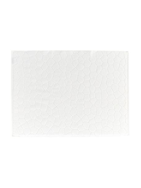 Tappeto bagno in cotone Stone, 100% cotone, Bianco latteo, Larg. 50 x Lung. 70 cm