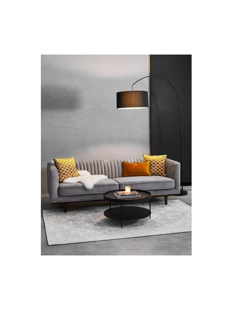 Sofá de terciopelo Dante (3plazas), Tapizado: terciopelo de poliéster 5, Patas: madera de caucho pintada, Terciopelo gris oscuro, An 210 x F 87 cm