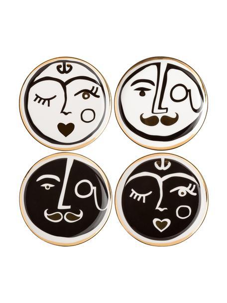 Designer Untersetzer Gentlemen mit abstrakter Zeichnung, 4er-Set, Porzellan, Goldfarben, Schwarz, Weiß, Ø 10 cm