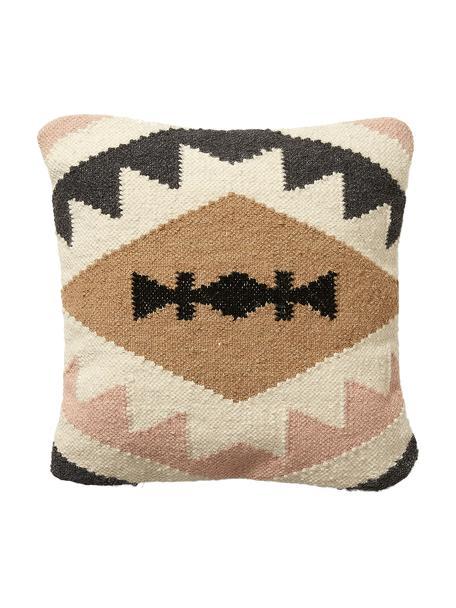 Ethno kussenhoes Gayle van wol, 90% wol, 10% katoen, Beige, zwart, crèmekleurig, roze, 45 x 45 cm