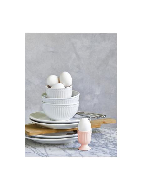 Handgemachte Eierbecher Alice in Rosa mit Reliefdesign, 2 Stück, Steingut, Rosa, Ø 5 x H 7 cm