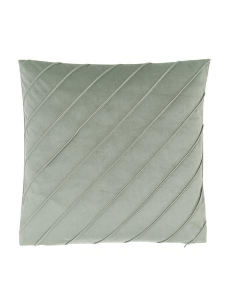 Federa arredo in velluto verde salvia con motivo Leyla, Velluto (100% poliestere), Verde, Larg. 40 x Lung. 40 cm