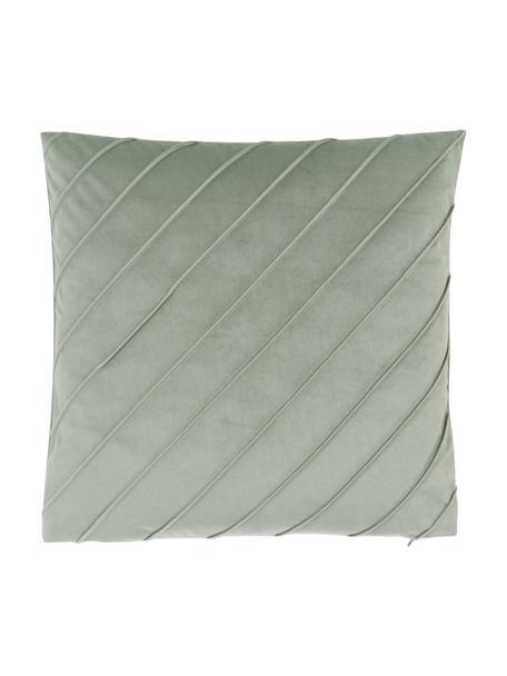 Fluwelen kussenhoes Leyla in saliegroen met structuurpatroon, Fluweel (100% polyester), Groen, 40 x 40 cm