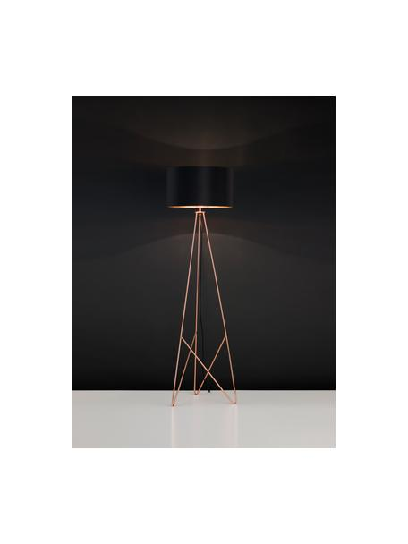 Lámpara de pie Camporale, Negro, bronceado, Ø 45 x Al 154 cm
