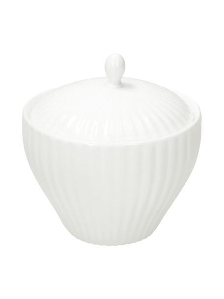 Zuckerdose Nala aus Fine Bone China mit Rillenrelief, Fine Bone China (Porzellan) Fine Bone China ist ein Weichporzellan, das sich besonders durch seinen strahlenden, durchscheinenden Glanz auszeichnet., Weiß, Ø 11 x H 9 cm
