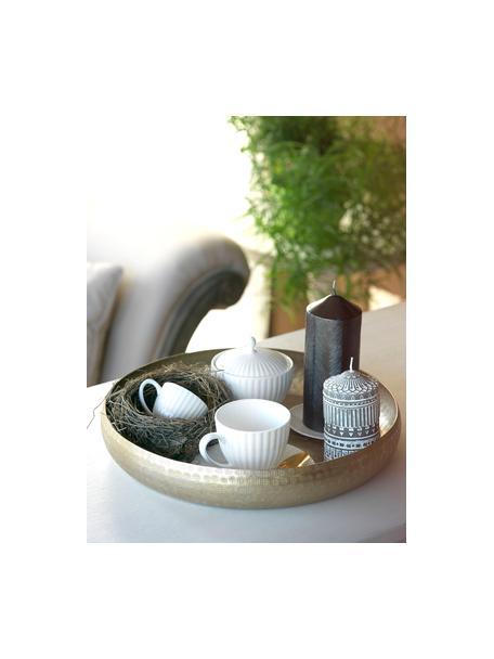 Zuckerdose Radius aus Porzellan mit Rillenrelief, Fine Bone China (Porzellan) Fine Bone China ist ein Weichporzellan, das sich besonders durch seinen strahlenden, durchscheinenden Glanz auszeichnet., Weiß, Ø 11 x H 9 cm